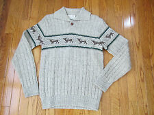 Vintage Lord Jeff Size S Mens Light Tan Cable Deer Motif Holiday Sweater