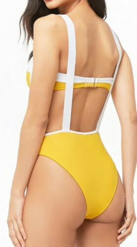 Forever 21 Suspender High Waist Bandeau Bikini Yellow /& White Color block M NEW