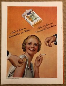 RARE-Vintage-1935-color-CHESTERFIELD-CIGARETTES-AD-Smiling-woman-and-suitors