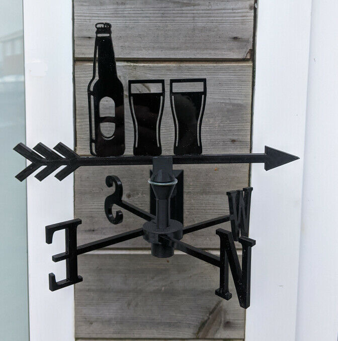 Beer Bottle & Glasses Acrylic Garden Weather Vane Wall, Pole or Post Mounted
