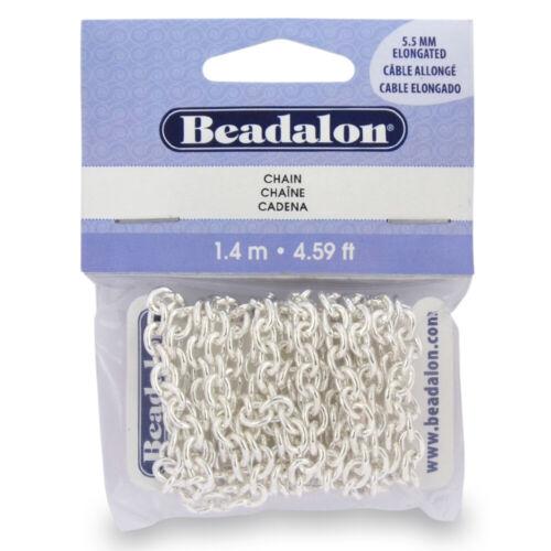 Beadalon ® cadena alargada Cable Estilo 5.5mm de diámetro Plateado 1.4m//4.59ft