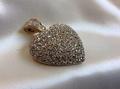 SWAROVSKI gold tone metal Clear Crystal Heart Charm Pendant