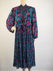 Vintage-Kanga-1980-039-s-Pleat-Skirt-Party-Cocktail-Dress-Size-12-14