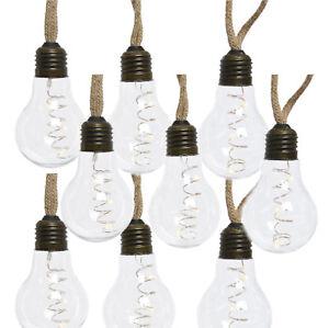 30-LED-Deko-Lichterkette-10-tlg-Gluehlampe-Antik-Vintage-Baumwoll-Kabel-warmweiss