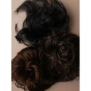 Natural Synthetic Elastic Scrunchie Curly Bun Hairpiece Hair Extension Brown