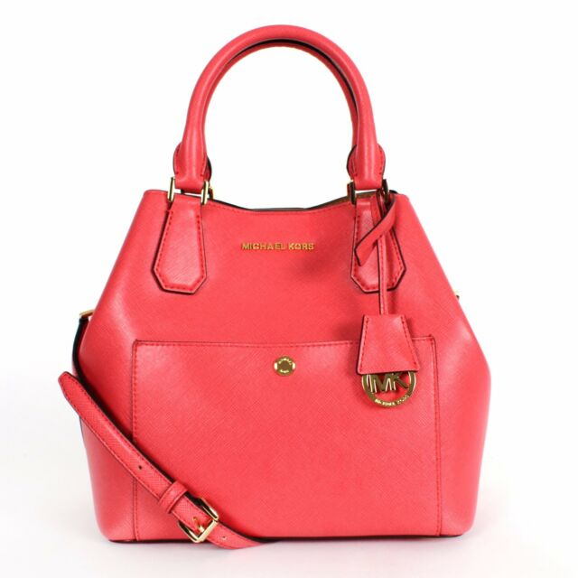 99fbe9aef7a5 Michael Kors Greenwich LG Grab Tote Handbag in Watermelon/luggage 30S5GGRT7U