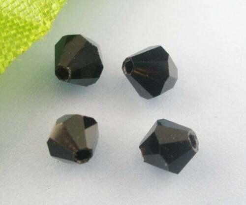 50 x Glasperlen Bicone Schwarz 4mm