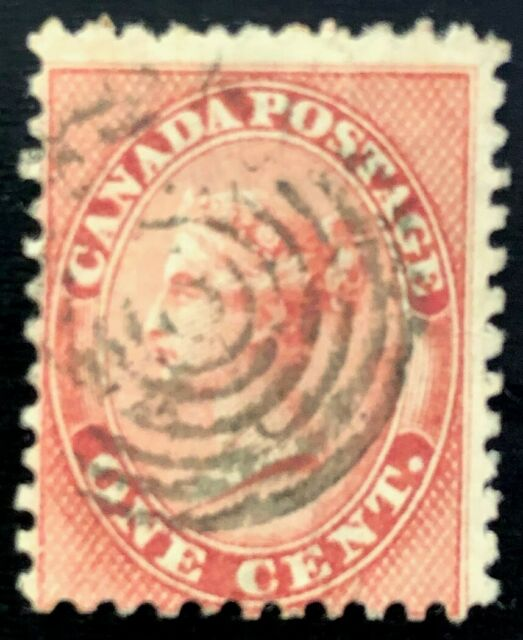 CANADA 1859 # 14- QUEEN VICTORIA FIRST CENTS ISSUE 1c USED 7 RING CANCEL