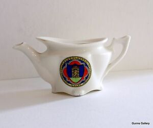 Fairy Ware Crested China Ancient Arms of Ilkley on a tea pot  no lid - Lynton, Devon, United Kingdom - Fairy Ware Crested China Ancient Arms of Ilkley on a tea pot  no lid - Lynton, Devon, United Kingdom