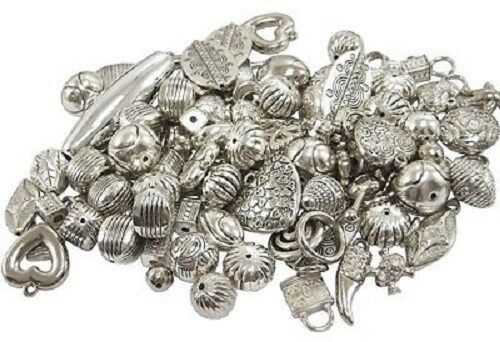 25g x Antique Silver Assorted Shaped Arcylic Beads