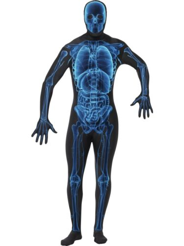 MENS X RAY BODY SUIT SECOND SKIN FANCY DRESS COSTUME HALLOWEEN SKELETON OUTFIT