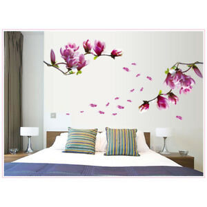 Details About New Removable Magnolia Flower Floral Wall Sticker Decal Art Mural Diy Home Decor