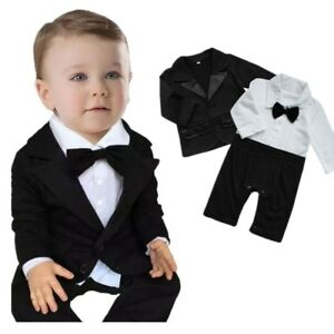 62e9f3acd7d Image is loading Baby-Boys-Tuxedo-Wedding-Suit-Romper-Jacket-Formal-