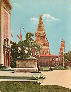 "#18B. Statue ""End Of Trail"" & Tower Of Jewels Panama Pacific Expo Jumbo Postcard"