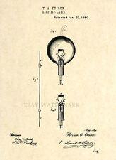 Official Thomas Edison Lamp US Patent Art Print - Vintage Light Bulb Antique -35