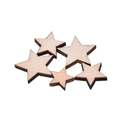 100X Wooden Mini Mixed Wood Stars Craft Cardmaking Scrapbooking Embellishment HG