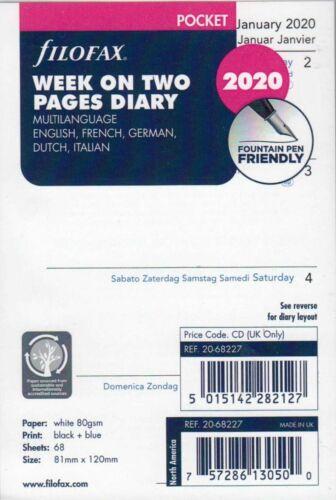 Filofax 2020 Pocket Kalender Einlagen A7 Kalendereinlage Kalendarium Nachfüllset