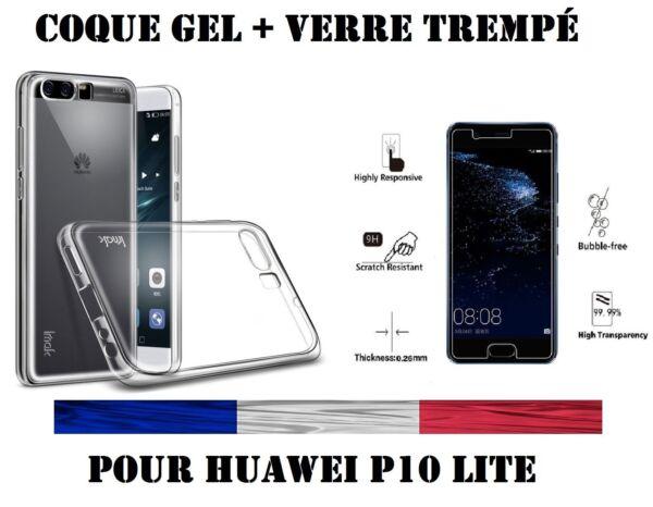 100% Vrai Coque Gel + Vitre Protection Film écran Verre Trempe Huawei P10 Lite Doux Et LéGer