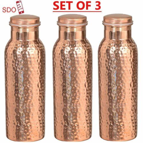 Hammered Joint Free Leak Proof Copper Water Bottle Travel Purpose Drinkable FS