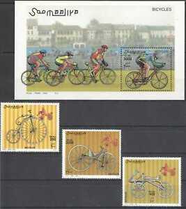 NW1456 2000 SOMALIA BICYCLES CYCLING #819-821+BL68 MICHEL 27 EURO MNH
