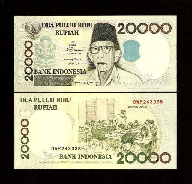Indonesia 20000 Rupiah P138 1998 2003 Ganesha Unc Money Bill Bank Note