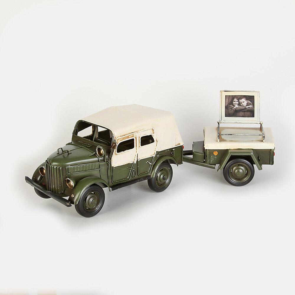 BlechModellll Bilderrahmen Fahrzeug mit Anhänger Größe ca. 36x10x11 cm
