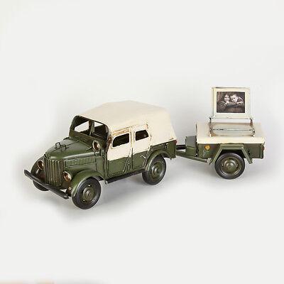 36x10x11 Cm Ausdauernd Blechmodell Bilderrahmen Fahrzeug Mit Anhänger Größe Ca Blechspielzeug Sonstige