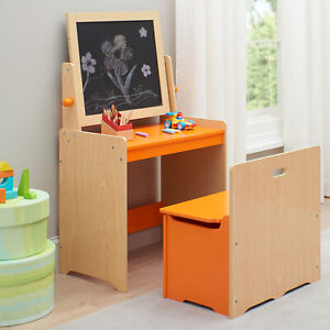 Senda Wooden Storage Kids Art Desk And Chair With Wooden Activity