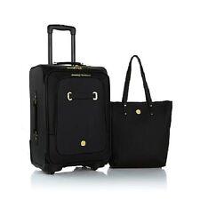 Joy Mangano Christie Carry-On Leather Luggage with Spinball Wheels - Black
