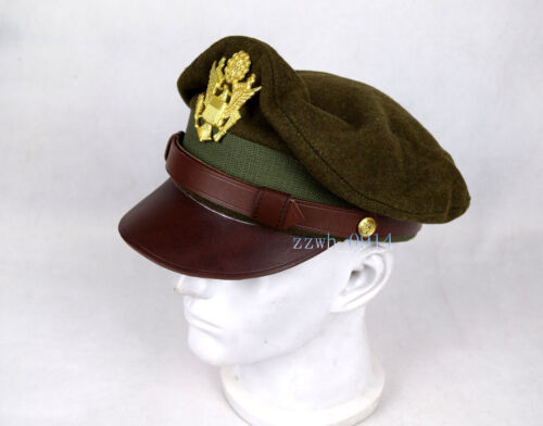 Replica US Army Aircorps Military Officers Pilots Crusher Hat Cap 58cm