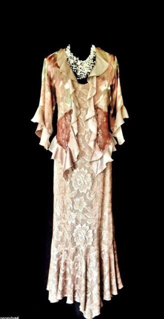 Ladies Designer Size L 14 16 18 Gold Metallic Lace Wedding Dress & Jacket Outfit