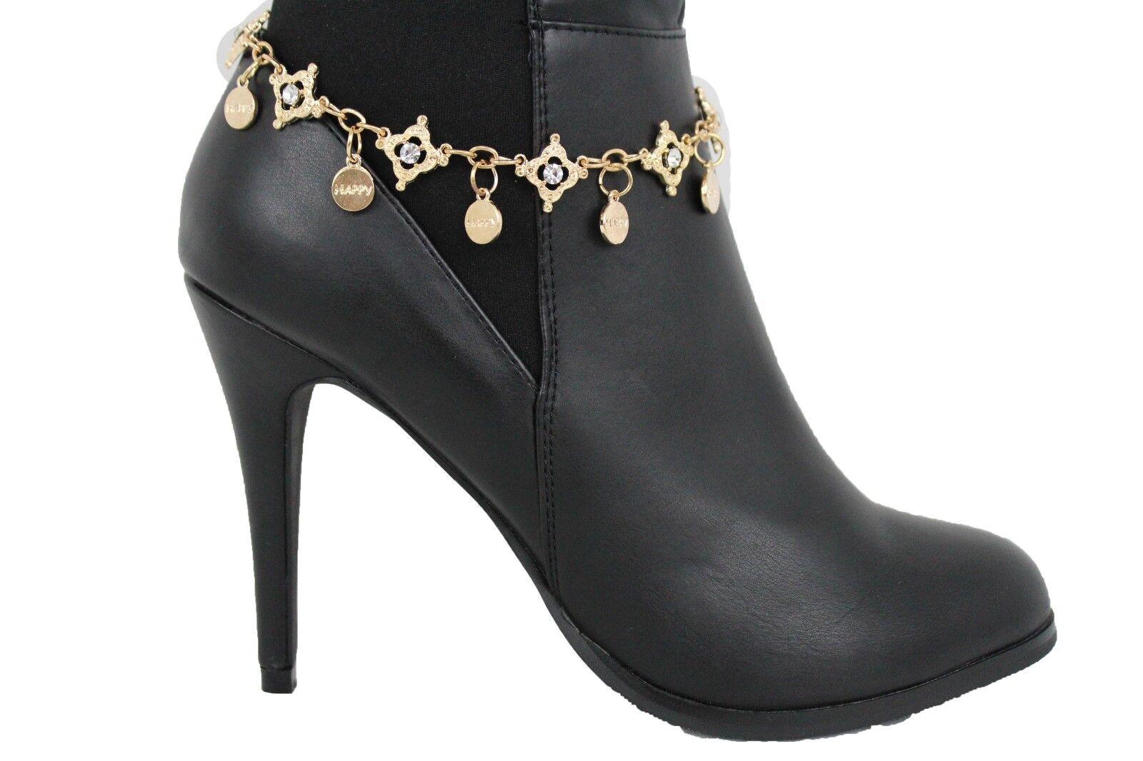 Western Women Gold Metal Chain Boot Bracelet High Heel Shoe Happy Charm Bling