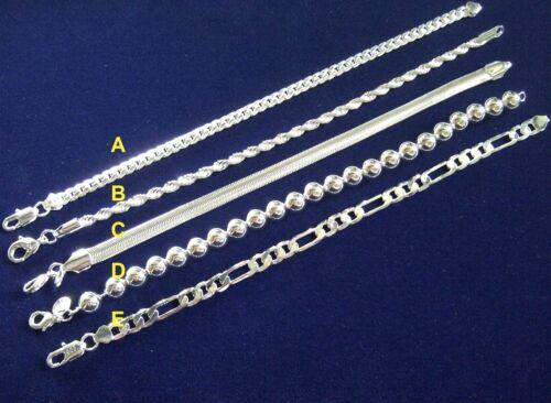 """SB 00 prune UK Bracelets Argent 8/"""" Serpent Boule FIGARO /& Corde Chaînes Cadeau Gratuit Box"""