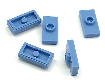 Lego 5 New Medium Blue Plates Modified 1 x 2 with 1 Stud with Groove Jumper