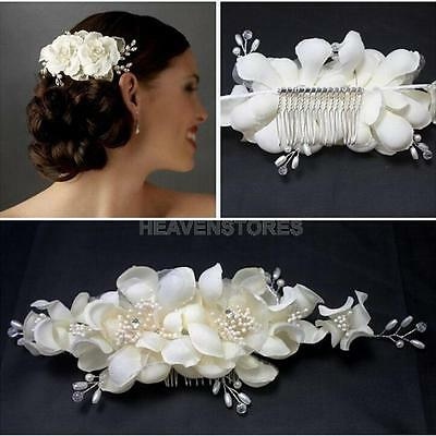 Flowers Pearl Fabric Bridal Wedding Crown Hair Comb Pin Clip Headdress Headband