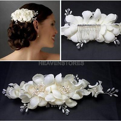 Flowers Pearl Fabric Bridal Wedding Crown Hair Comb Pin Clip Headdress Headband