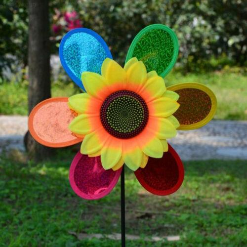 3CBE Sonnenblumen Windmühle Windrad Plastik Farbe Zufällig Spielzeug Garten Für