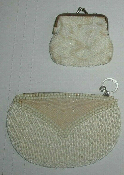 2 Beautiful Vintage White Ladies Micro Beaded Change / Makup Purses