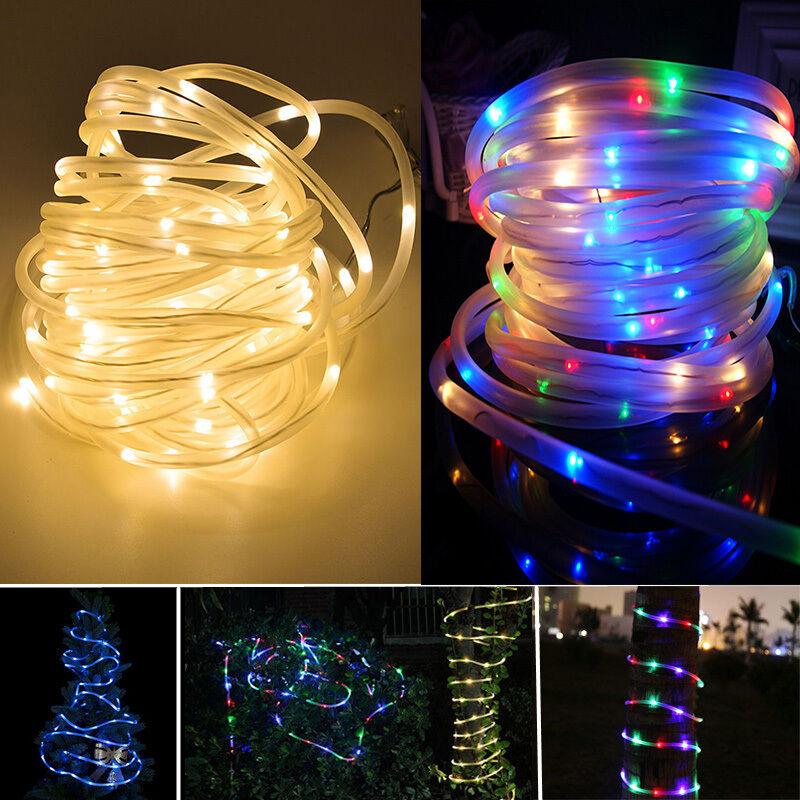 10m 100 led solar lichterschlauch weihnachten au en lichtschlauch lichterkette ebay. Black Bedroom Furniture Sets. Home Design Ideas