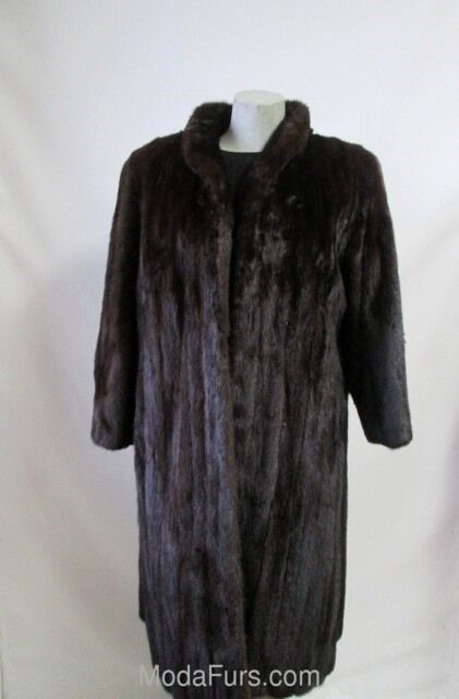 Women's Sz 8 Dark Ranch FEMALE Real    Mink Fur Coat  MINT+ Condition 8de21f