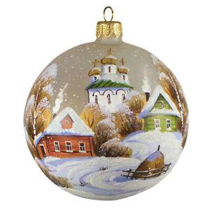 3 9 Winter Village Church Christmas Glass Ball Ornament Handmade In Russia Ebay