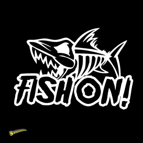 Fish On Vinyl Decal sticker fishing kayak truck car boat saltwater freshwater
