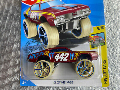 2019 Hot Wheels Olds 442 W-30 #240 Red HW Art Cars Lifted Chrome Rims