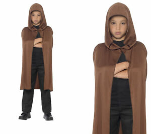 Brown-Long-Hooded-Cape-Halloween-Fancy-Dress-Accessory-Boys-Girls