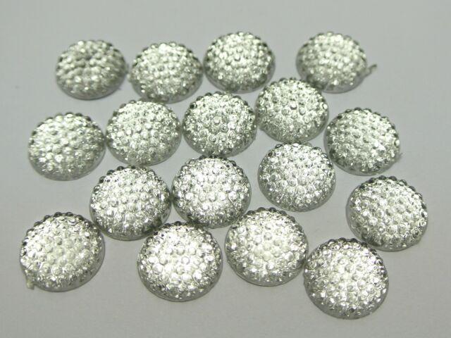 100 Clear Flatback Resin Dotted Round Rhinestone Cabochon Gems 12mm