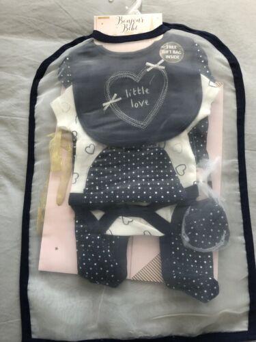 Baby Girls 5 Piece Sleepsuit Bodysuit Hat Mittins Bag Set  By Bonjour Bebe