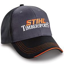Stihl Timbersports Charcoal and Black Fabric Hat Cap w Orange Details