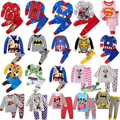 Cartoon Kids Toddler Baby Boy Girl Pyjamas Pajamas Set Sleepwear Age 2-3-4-5-6-7