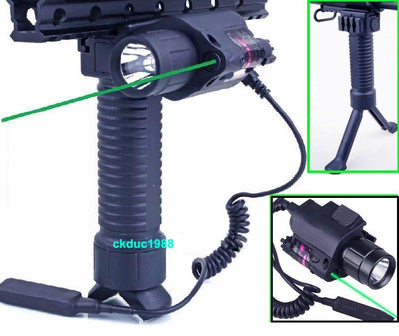 Tactical Rifle Foregrip Bipod + Combo Cree Led Flashlight & Green Laser Sight