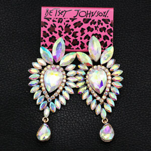 Betsey-Johnson-Earring-AB-Crystal-Rhinestone-Dangle-Earbob-Women-039-s-Stud-Earrings